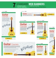 Seven web banners - guitar courses vector