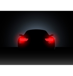 The car in the dark with the included headlights vector image