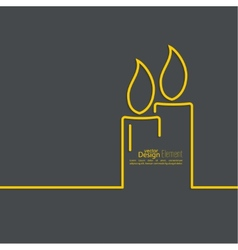 Two burning candles vector