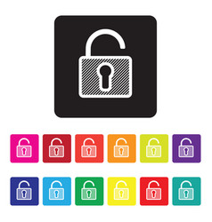Unsecured website icon set vector