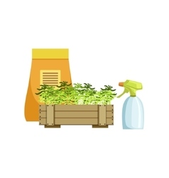 Set of plants in crate and bag with fertilizer vector
