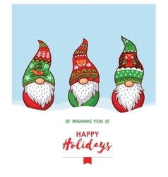 Happy holidays card with christmas gnomes in red vector
