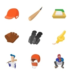 Sport with bat icons set cartoon style vector