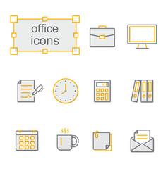 Thin line icons yellow set office vector