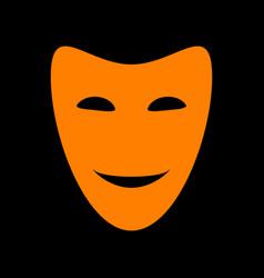 Comedy theatrical masks orange icon on black vector