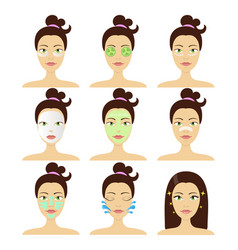 different types of facial cosmetic masks vector image