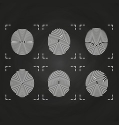 White fingerprints icons collection on chalkboard vector