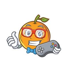 Gamer orange fruit cartoon character vector