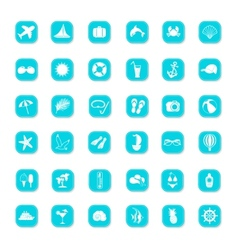 Summer blue icons vector