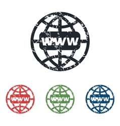 Global network grunge icon set vector