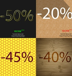20 45 40 icon set of percent discount on abstract vector