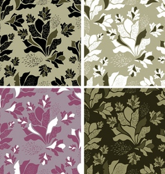 Seamless set of floral patterns vector