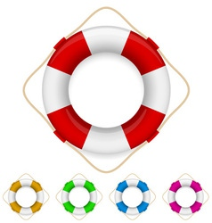 Set of life buoys vector