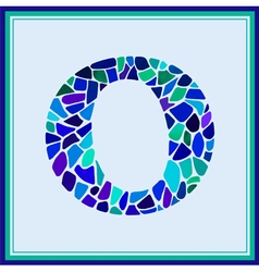 O - letter - green watercolor mosaic vector