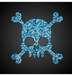 Blue skull pirate flag sequins vector