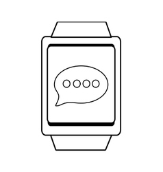 Square watch and message icon graphic vector