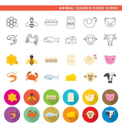 Animal source food icons vector
