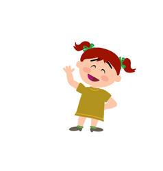cartoon character girl greeting vector image