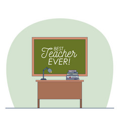 classroom with chalkboard with text of best vector image vector image