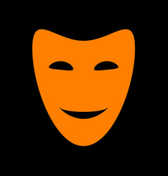 Comedy theatrical masks orange icon on black vector