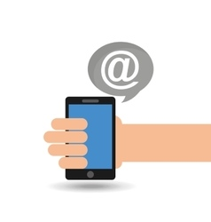 concept social media hand holding smartphone mail vector image