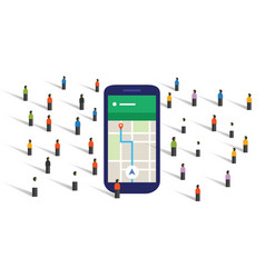 Crowd navigation map screen big smart-phone mobile vector
