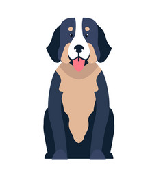 Cute st bernard dog cartoon flat icon vector