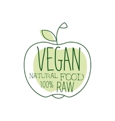 Fresh vegan food promotional sign with apple vector
