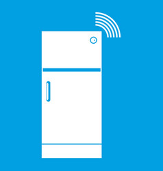 Fridge icon white vector