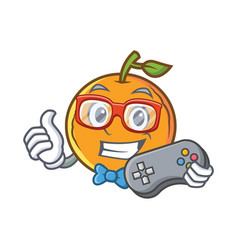 Gamer orange fruit cartoon character vector
