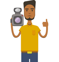 Image of africo american man with video vector