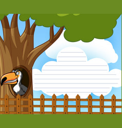 line paper with toucan bird in the tree vector image
