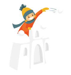Little boy in snow castle playing snowball fight vector