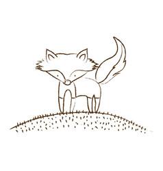 Monochrome hand drawn silhouette of fox in hill vector