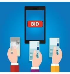 Online bidding auction mobile phone bid button vector
