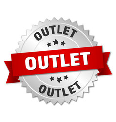 Outlet round isolated silver badge vector