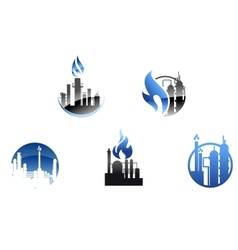 Refinery factory icons and symbols vector image