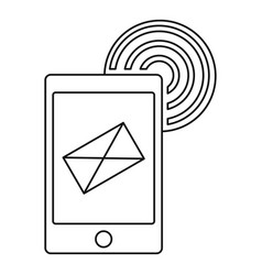 send an email by phone icon outline style vector image