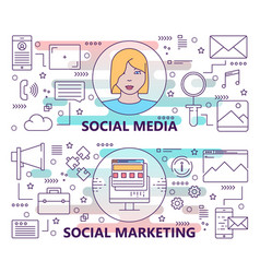 Set of banners with social media and social vector