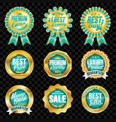 Set of excellent quality turquoise badges vector