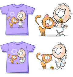 Shirt with cute baby and cat - vector