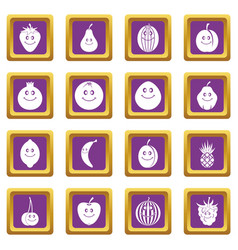 smiling fruit icons set purple vector image