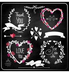 Wedding graphic set on chalkboard vector image vector image