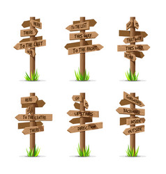 wooden arrow signboards direction set vector image vector image