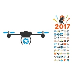 Shutter spy airdrone icon with 2017 year bonus vector