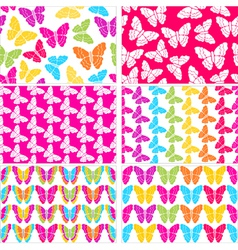 Set of six seamless butterflies backgrounds vector