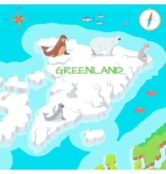 Greenland mainland cartoon map with fauna species vector