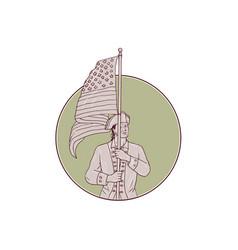 American patriot standing usa flag circle drawing vector