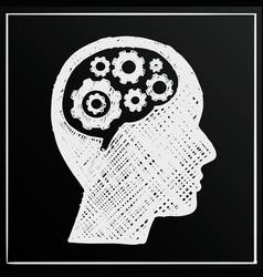chalkboard head brain gear business man idea vector image