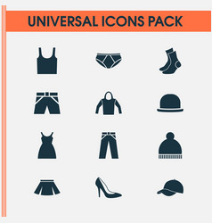 Dress icons set collection of pants half-hose vector
